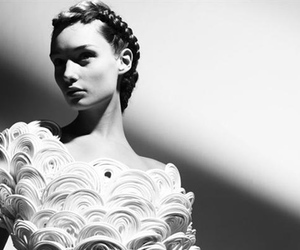black and white, braids, and model image