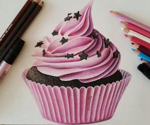 drawing, art, and cupcake image
