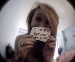 fish eye, girl, and quote image