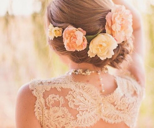 flowers, hair, and wedding image