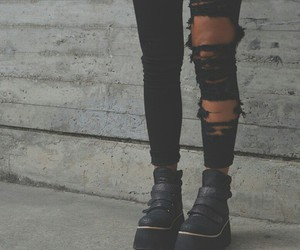 black, shoes, and leggins image