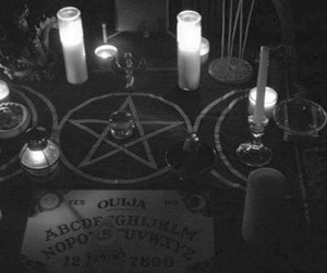 candle, ouija, and black and white image