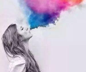 girl, smoke, and colors image