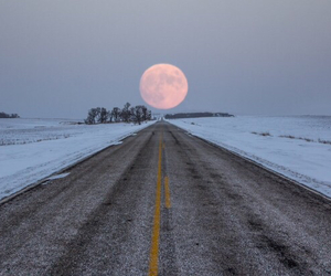 moon, snow, and road image