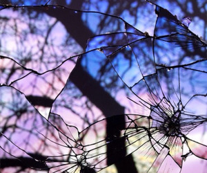 glass, broken, and mirror image