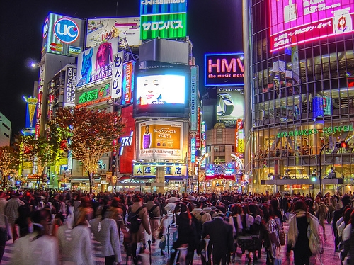 neon signs, night, and shibuya crossing image