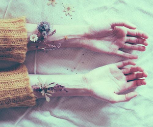 hands, flowers, and grunge image
