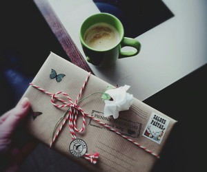 flowers, Letter, and coffee image