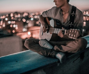 boy, guitar, and city image