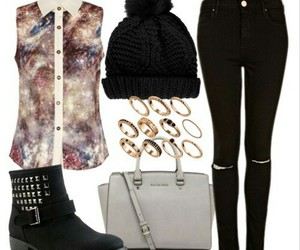 outfit, boots, and beanie image