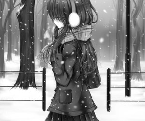 anime, snow, and black and white image