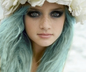 hair, flowers, and eyes image