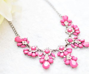necklace, pink, and girly image