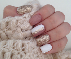 gold, nails, and spring image
