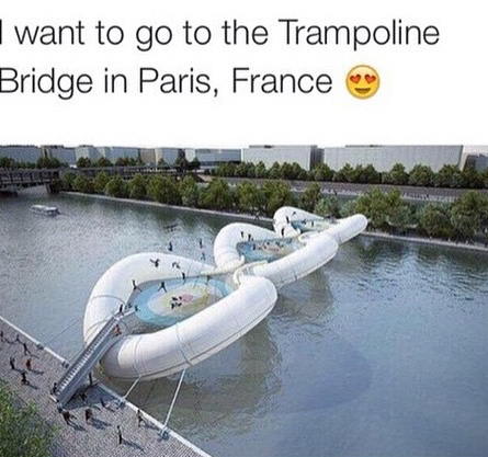 trampoline, bridge, and france image