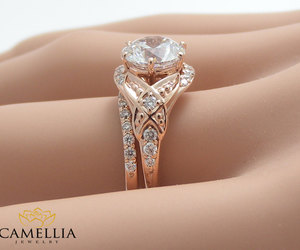 engagement ring, rose gold, and promise rings image