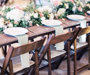 bouquet, chair, and flowers image