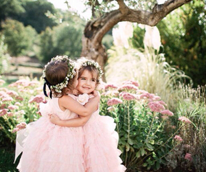 girl, flowers, and sisters image
