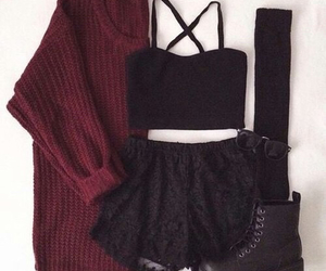 black, boots, and maroon image