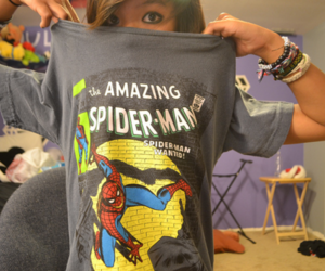 girl, spiderman, and spider man image