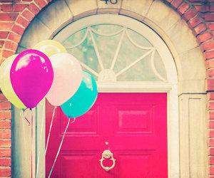 balloons, door, and pink image