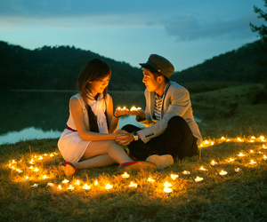 camping, couple, and light image