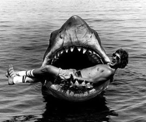 art, jaws, and black and white image