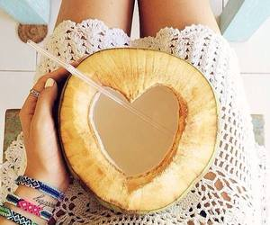summer, coconut, and fruit image