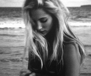 black and white, blonde, and sea image