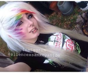 alt girl, dyed hair, and white hair image