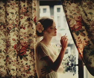 girl, flowers, and cigarette image