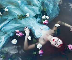 water, flowers, and dress image