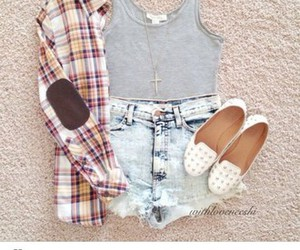 girl, plaid, and ripped shorts image