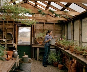 garden house, gardener, and greenhouse image