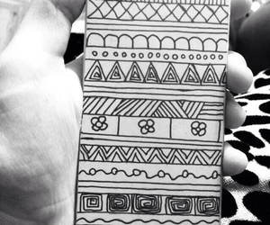 black and white, case, and doodle image