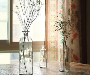 bottle, flowers, and window image