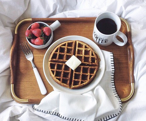 bed, breakfast, and happy image