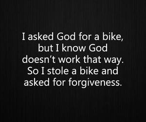 angry, atheist, and bike image