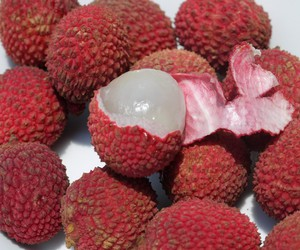 fruit, lychee, and red image