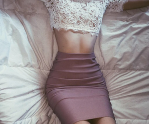lace top and tight skirt image