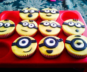 birthday, cupcakes, and minions image