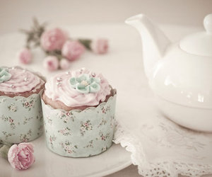 cupcake, tea, and pink image
