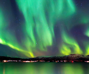green, night, and northern lights image