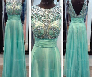green prom dress, long prom dress, and chiffon prom dress image