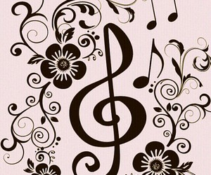 music, pink, and flowers image