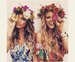 girls, flowers, and friends image