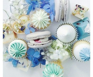 blue flowers, pastries, and cupcakes image
