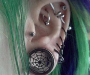 piercing, green hair, and Plugs image