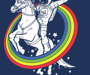 unicorn, rainbow, and astronaut image