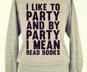 book, party, and sweater image
